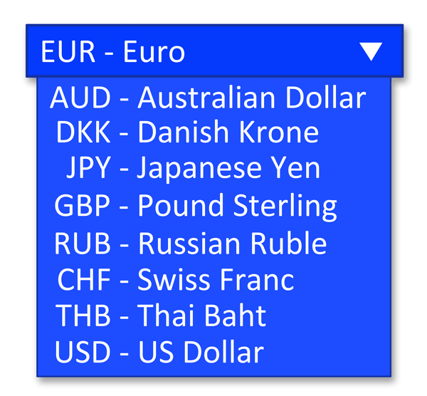 Currency select list